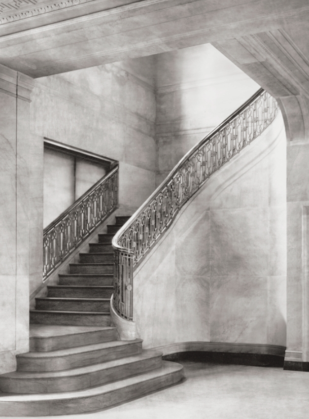 Historic photograph of the F street wing corner staircases, 1917.