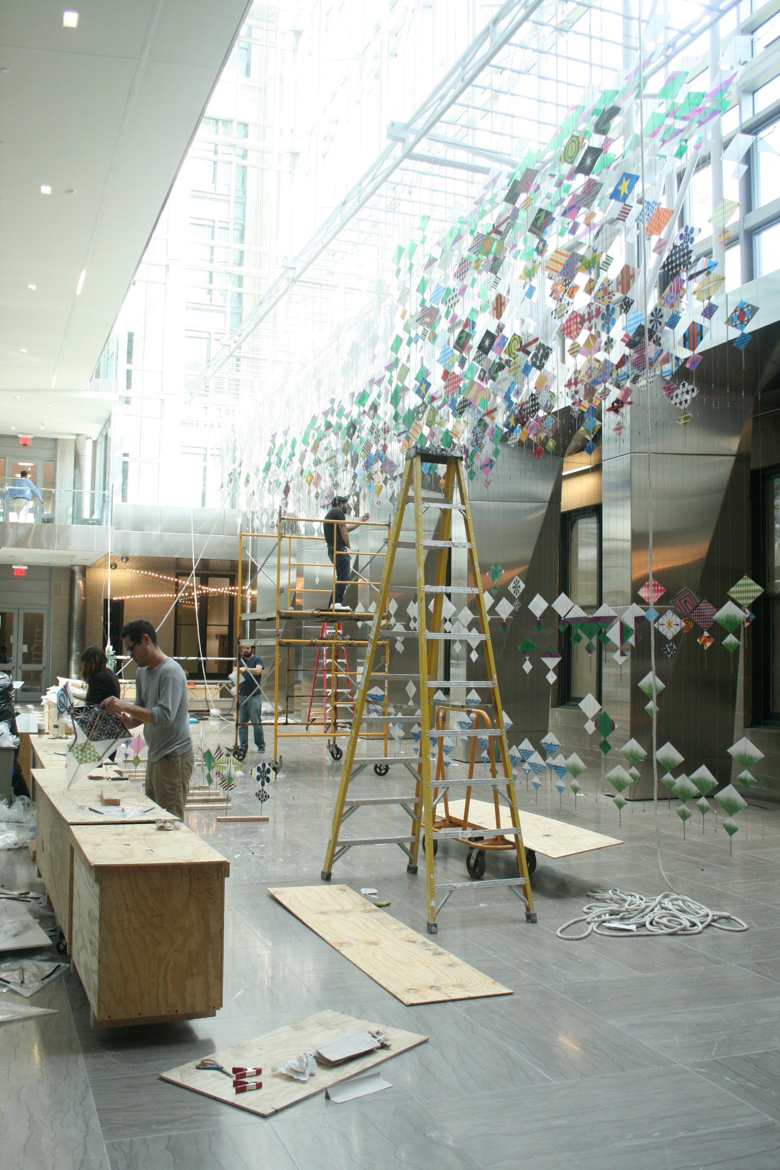 Installation of Jacob Hashimoto's Kites, September 2013.