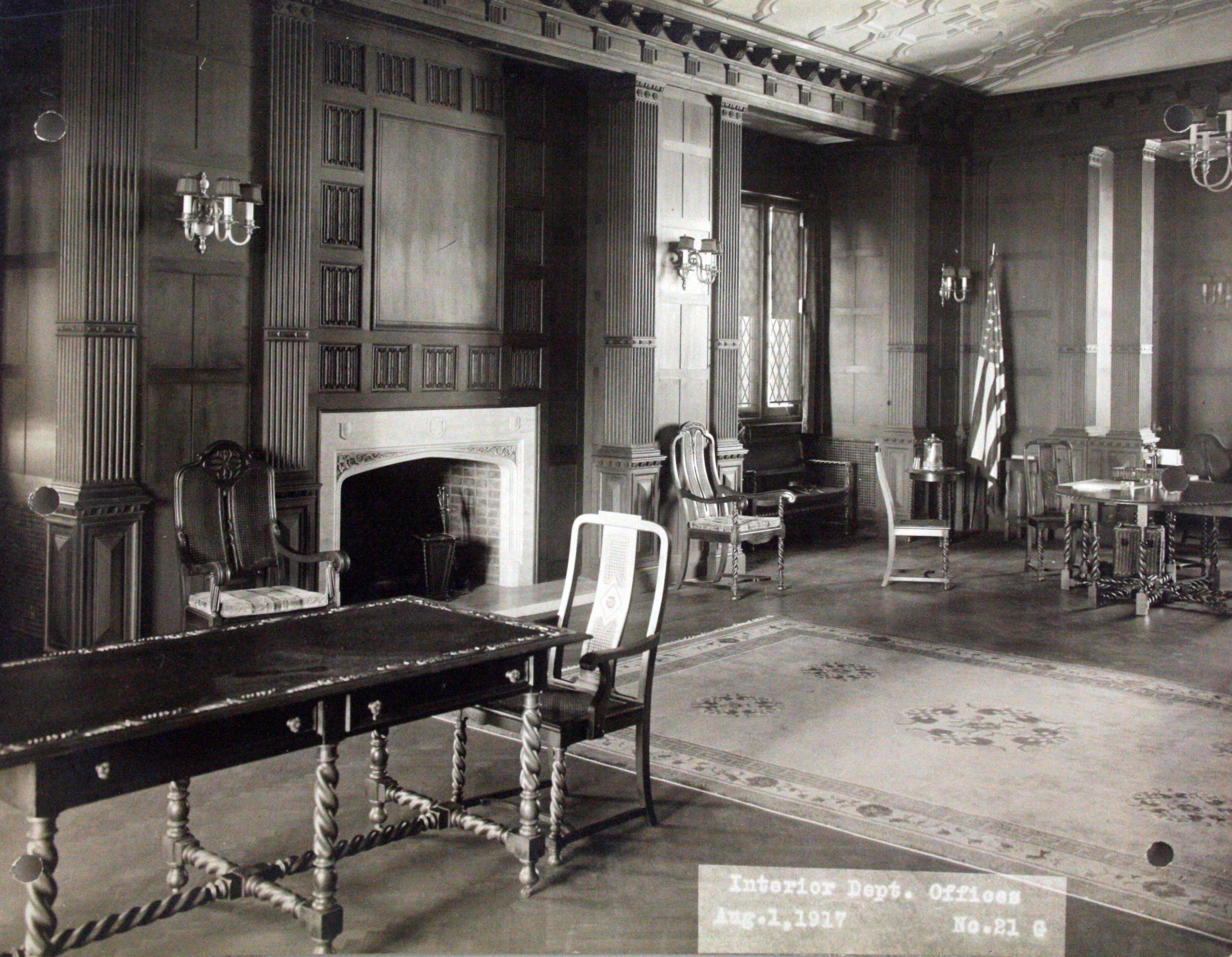 Furnished suite for the Secretary of the Interior, August 1917.