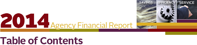 Agency Financial Report 2014 Cover Header