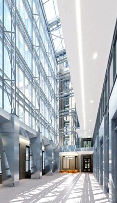 Image of atrium in newly constructed portion of 1800 F