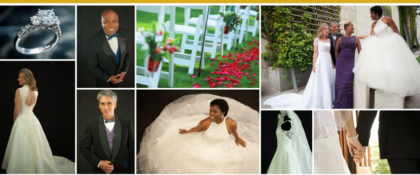 Photos top row, left to right:  close up of diamond engagement ring in platinum setting to be auctioned,  man modeling tuxedo that will be auctioned, outside wedding scene of white chairs next to an aisle of red rose petals, four models wearing wedding attire that will be auctioned including white wedding dress, black tuxedo, purple formal down and white wedding dress.  2nd row, left to right:  female modeling wedding dress to be auctioned showing back view with intricate beading, man modeling tuxedo to be auctioned featuring purple vest and bow tie, female modeling white wedding dress to be auctioned, side view of hanging white wedding dress and veil to be auctioned featuring lace details on side,  close up focusing on back of bride and groom holidng hands.