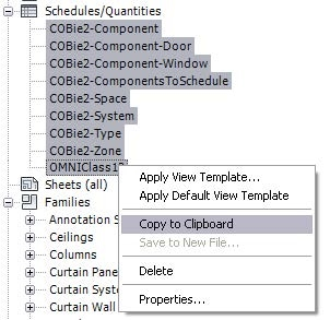 Diagram of how to copy COBie2 schedules into an existing OMNIClass schedule