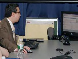 Man using computer and promoting open government