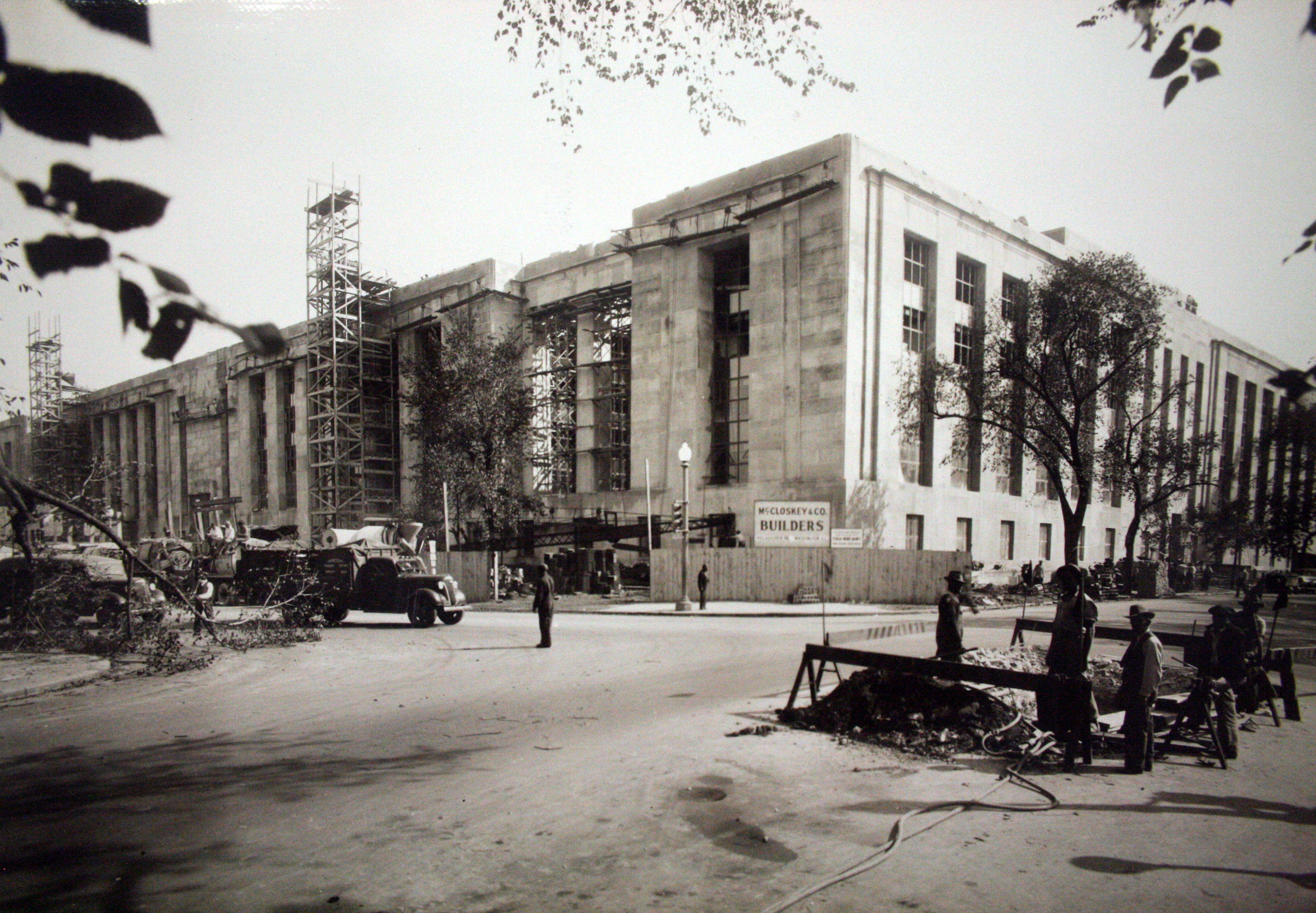 Wilbur J. Cohen Federal Building, View of Building Construction from the Corner of C and 3rd Streets SW, 1939.