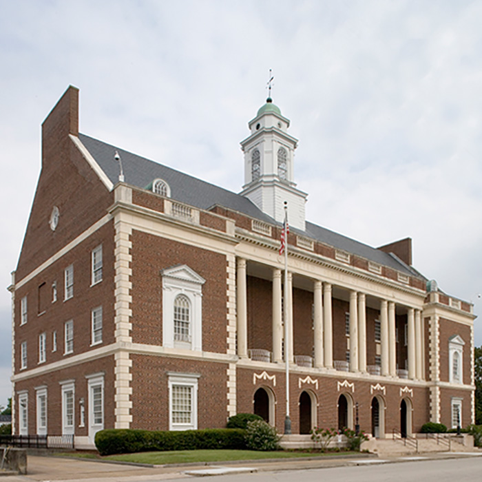 US Post Office and Courthouse, New Bern, NC, is an example of Colonial Revival style architecture
