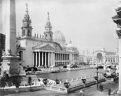 Palace of Mechanic Arts and the lagoon at the World's Columbian Exposition, Chicago, IL; 1893