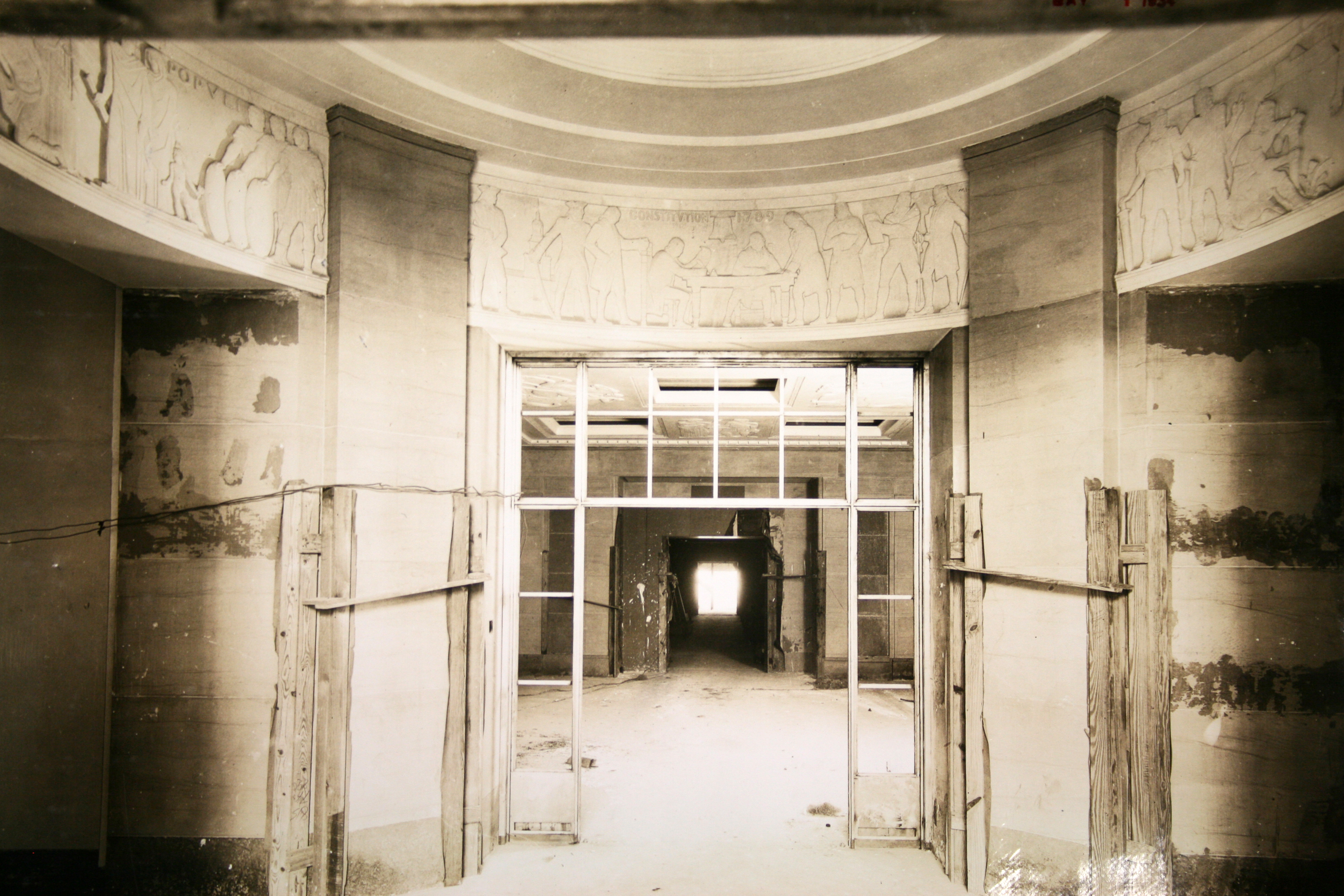 Construction on the Constitution Avenue lobby including Jennewein's bas-relief panels.