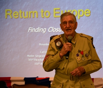 Master Sergeant Carl Beck  (U.S. Army), Guest Speaker, delivers presentation on his experiences in WWII.