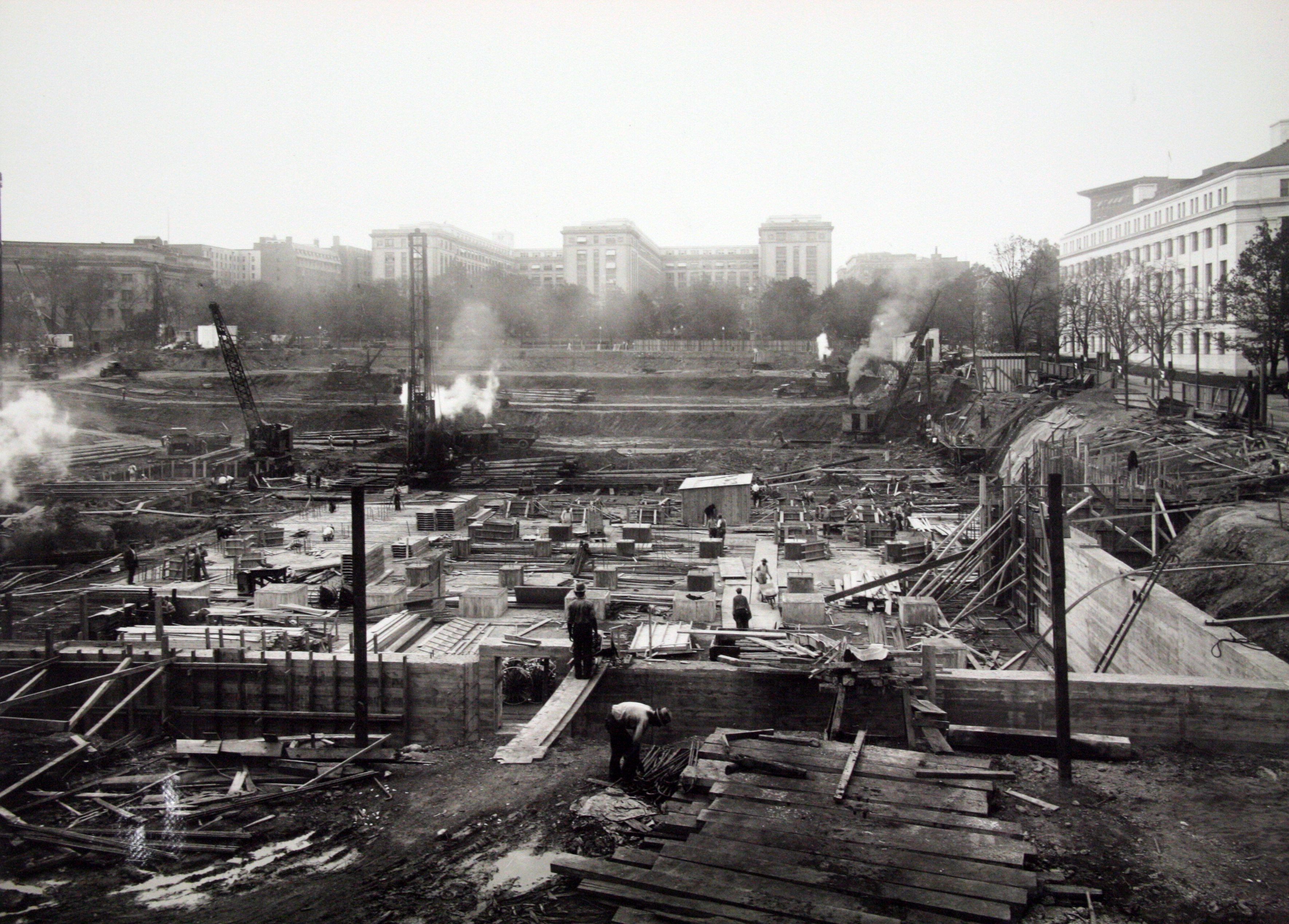 Construction of the building foundation, 1935.