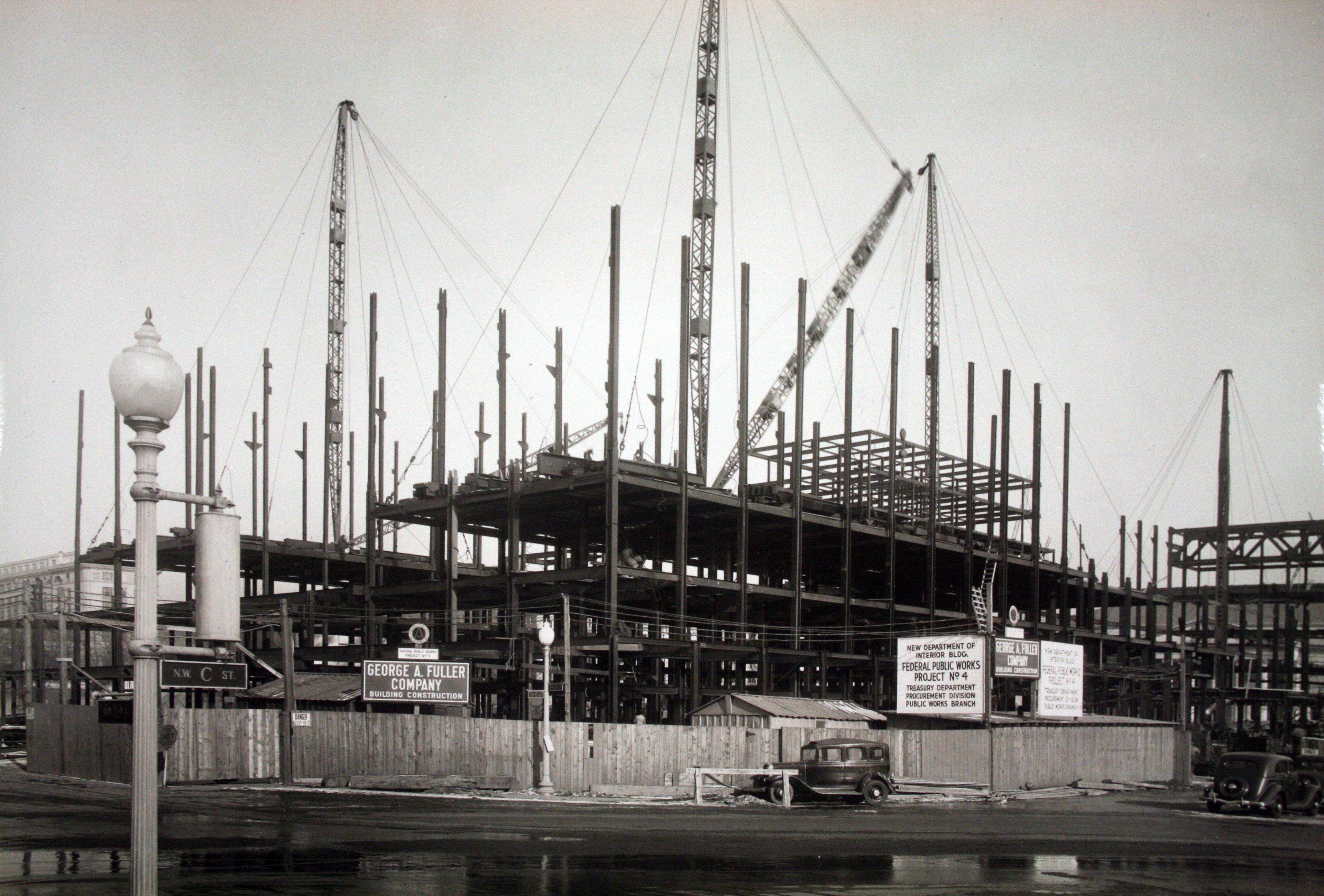 Construction of the building's steel frame, c. 1936.
