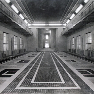 Historic view of the Great Hall at the Department of Justice building.