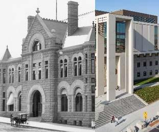 Sioux Falls Courthouse 1800's and Battin Courthouse 2013 images merged