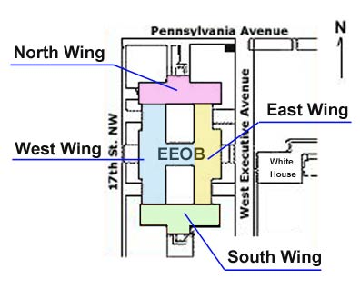 Illustration of the Eisenhower Executive Office Building showing the location of each of the four wings of the structure.