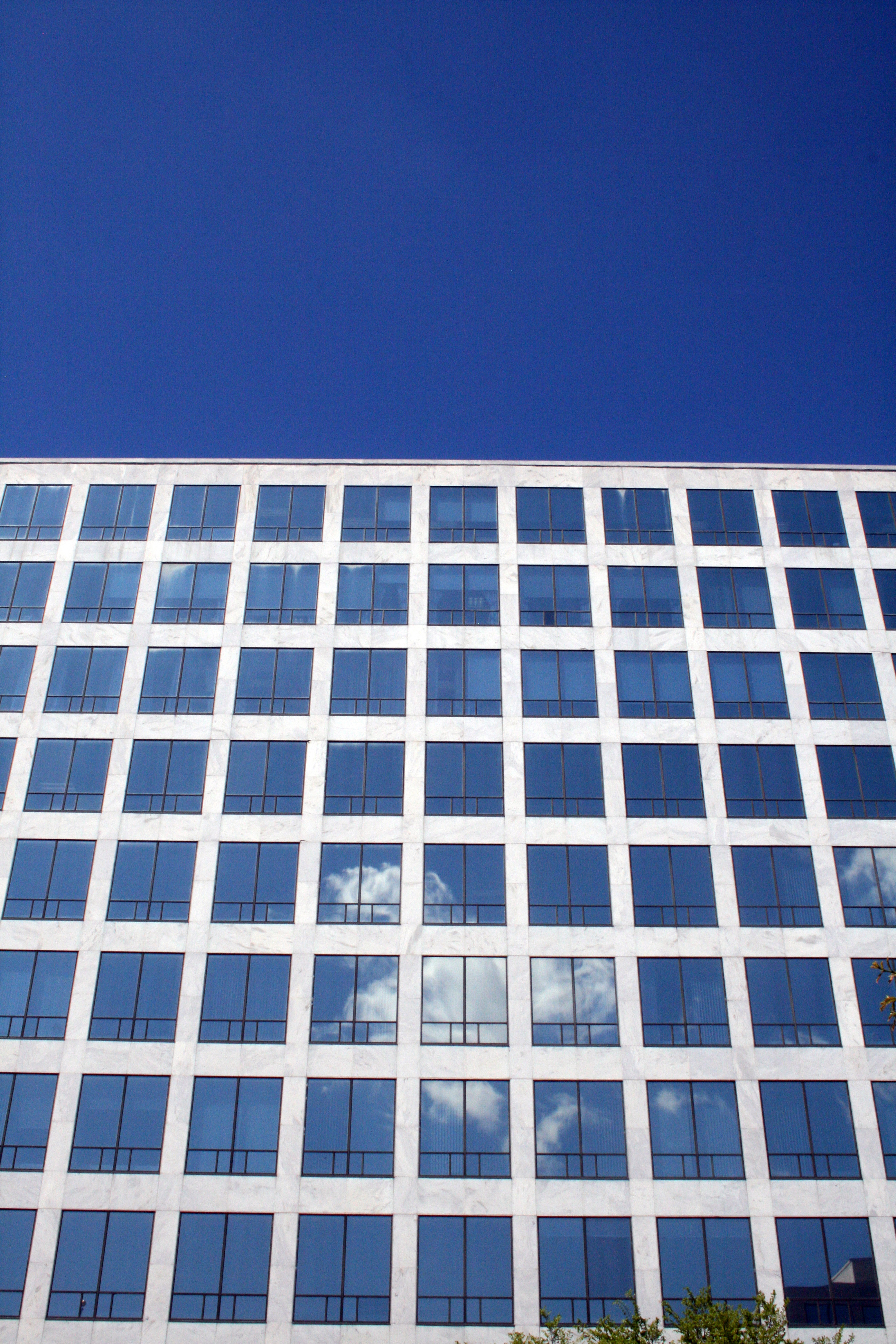 The Orville Wright Federal Building, glass and marble façade.