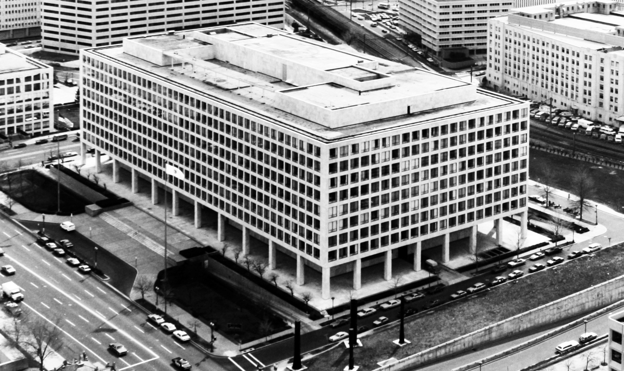 Aerial view of Federal Office Building 10A, c. 1970-1980.