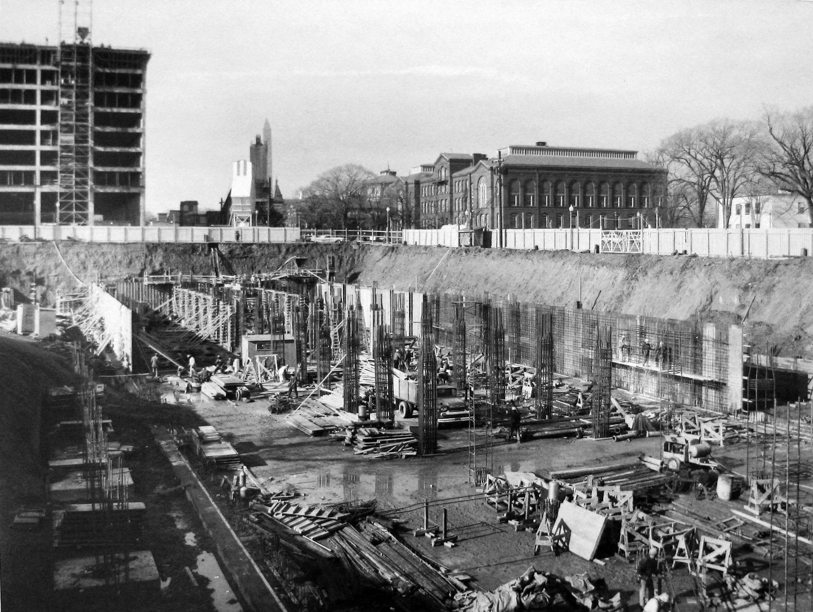 Digging the foundation, Federal Office Building 10A, c.1961.