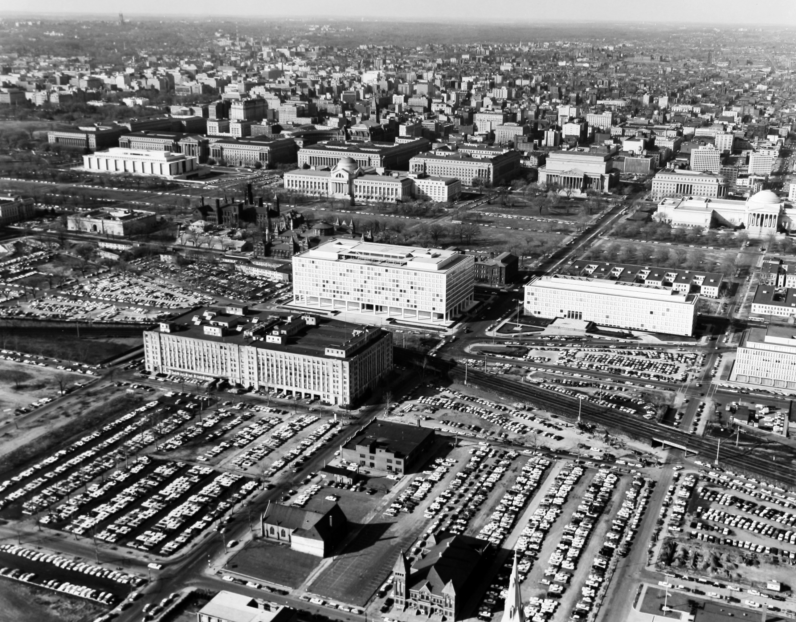 Aerial view of Southwest, Washington DC, including Federal Office Buildings 10A and 10B (seen just south of the National Mall), c. 1964.