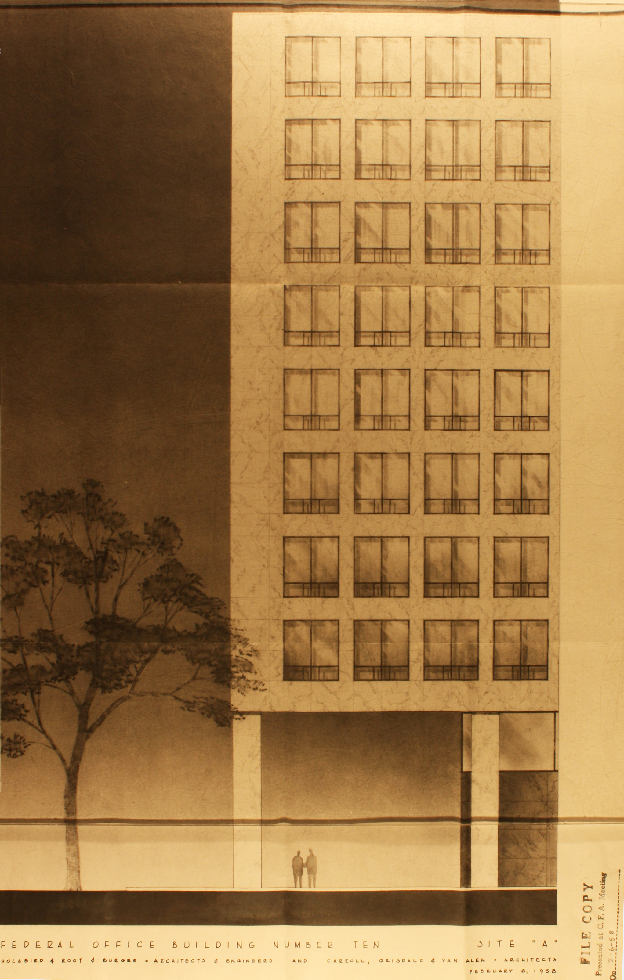 Rendering of the proposed Federal Office Building 10A, presented to the U.S. Commission of Fine Art in 1958.