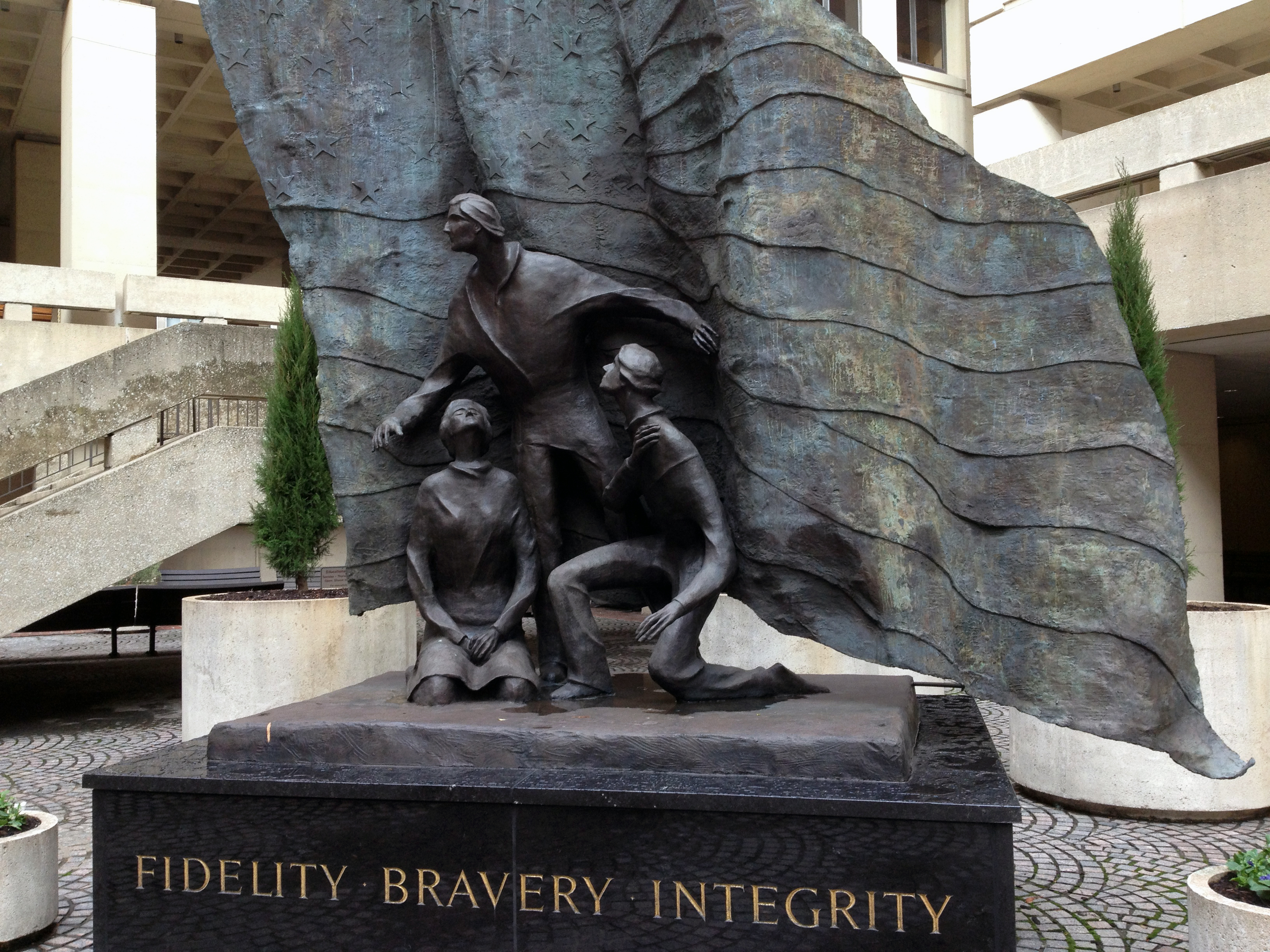 Sculpture, Fidelity, Bravery, Integrity at the J. Edgar Hoover FBI Headquarters, Washington, D.C.