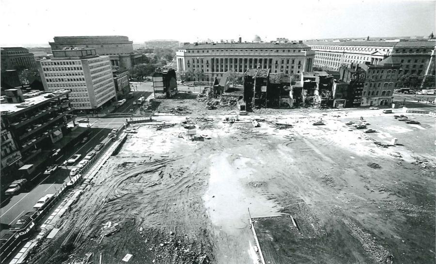 FBI Building, South View of the Cleared Site towards the Department of Justice, c. 1967.