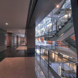 Corridors and offices front the new central atrium, allowing natural light to reach all of the building's offices.