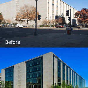 Taken from the same location, these photos showcase the transformation of FOB 8 into the Thomas P. O'Neill, Jr. Federal Building during the 2008-2013 modernization.