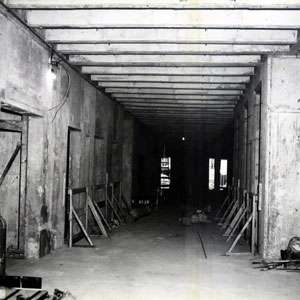 The first floor lobby, under construction, c. 1964.