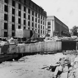 Construction of the garage ramp and framing of the sixth floor, c. 1964.