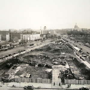 Construction of the FTC building foundation, c. 1936.