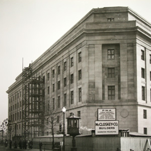 View of the building's completed limestone facade along Pennsylvania Avenue, c. 1938.