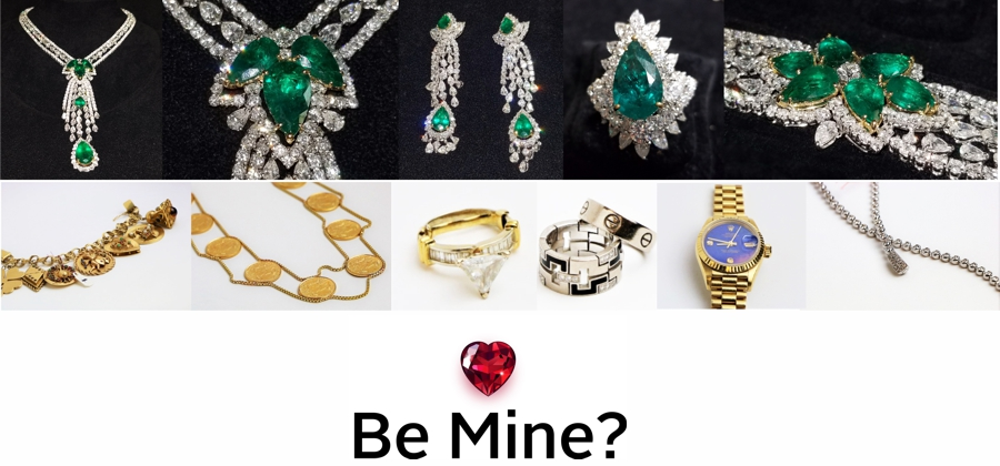 GSA Auctions fine jewelry collection featuring gold rings, diamond and emerald necklaces, bracelets and time pieces.