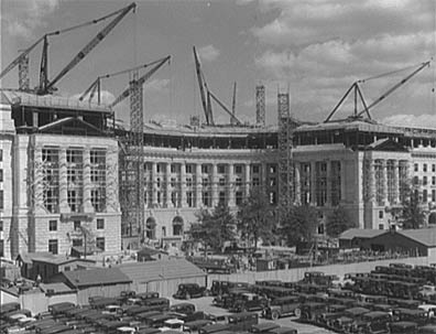 Exterior - Construction of the Great Plaza, and the Post Office, all part of Washington DC known as the Federal Triangle