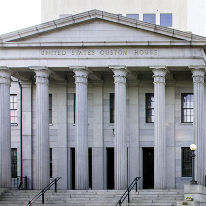 Exterior, US Custom House,Savannah, GA. An example of Greek Revival style architecture