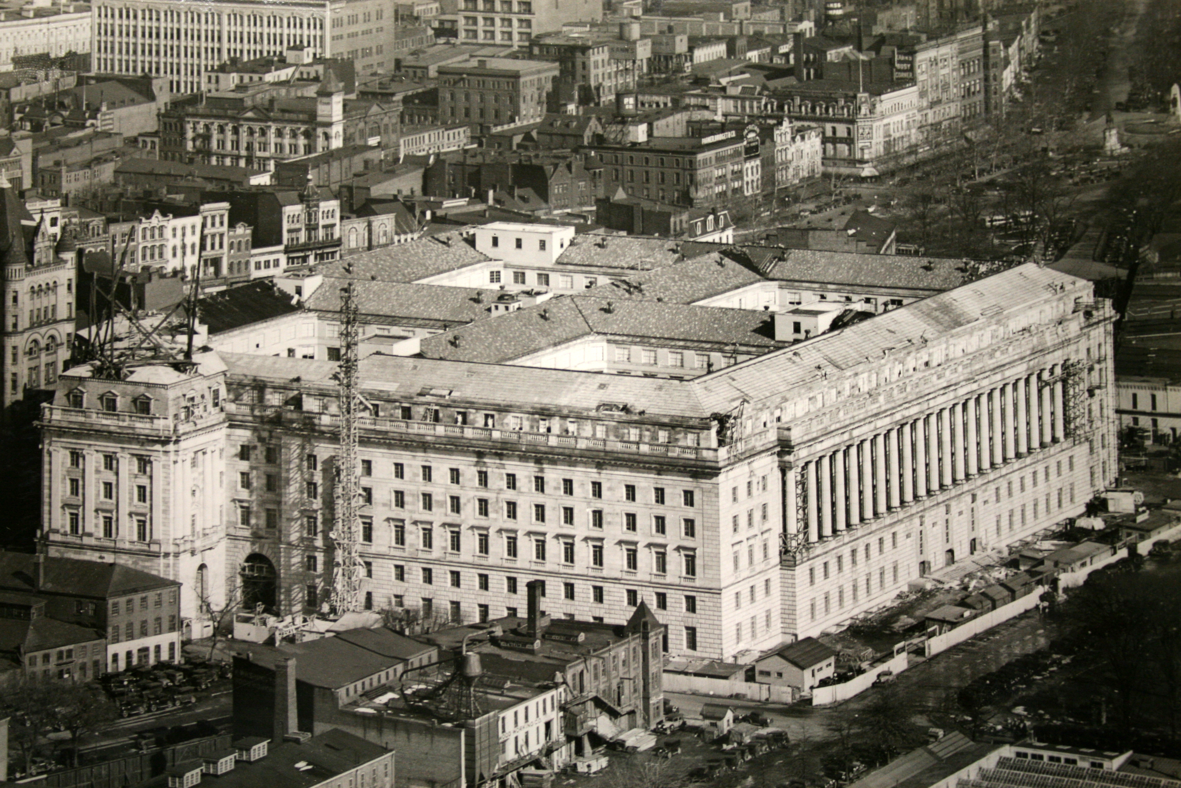 Aerial photograph of the building during the final stages of construction, c. 1930.