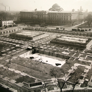 Construction of the IRS building foundations. The Smithsonian Museum of Natural History is visible in the background..