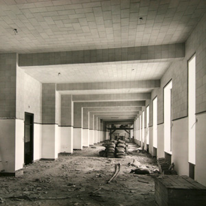 Interior corridor under construction, c. 1930.