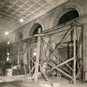 Construction of the Great Hall inside the IRS building, c. 1930.