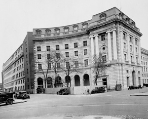 The facade of the IRS building along 12th Street was left unfinished, as the building was to be extended when the Old Post Office was torn down. An addition was later added to the east of the post office, but the building was never demolished.