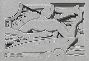 Bas relief 'Transportation & Distribution of the Mail' by Raymond Barger, located in the John O. Pastore Federal Building, Providence, RI