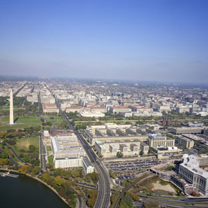 Aerial view of the southwest Washington, D.C.Liberty Loan federal building can be seen in the foreground, c. 2006.