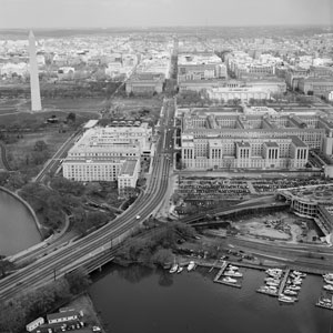 Aerial view of the Potomac River and southwest Washington, D.C. The Liberty Loan building can be seen in the foreground, c. 1980.