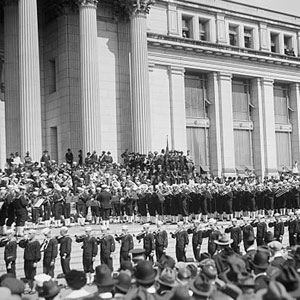 The John Philip Sousa band playing in front of the U.S. Department of the Treasury headquarters building during a bond rally for the fourth Liberty Loan campaign, 1918.