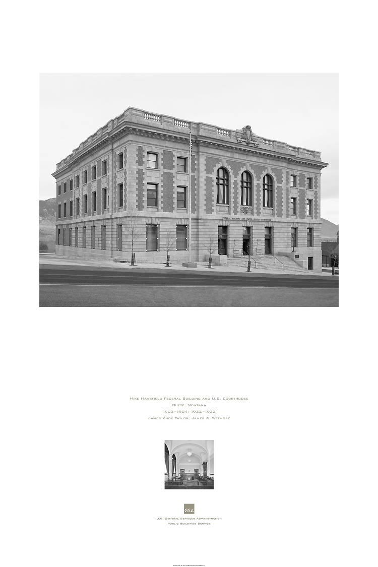 poster of the Mike Mansfield Federal Building and U.S. Courthouse, Butte, MT