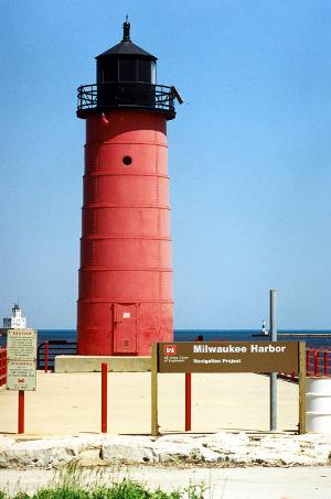 Close-up shot of Milwaukee Pierhead Lighthouse