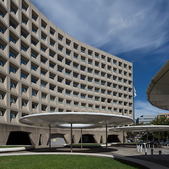 Exterior, Robert C. Weaver Federal Building, Washington, DC. An example of Mid-Century Modern style architecture.