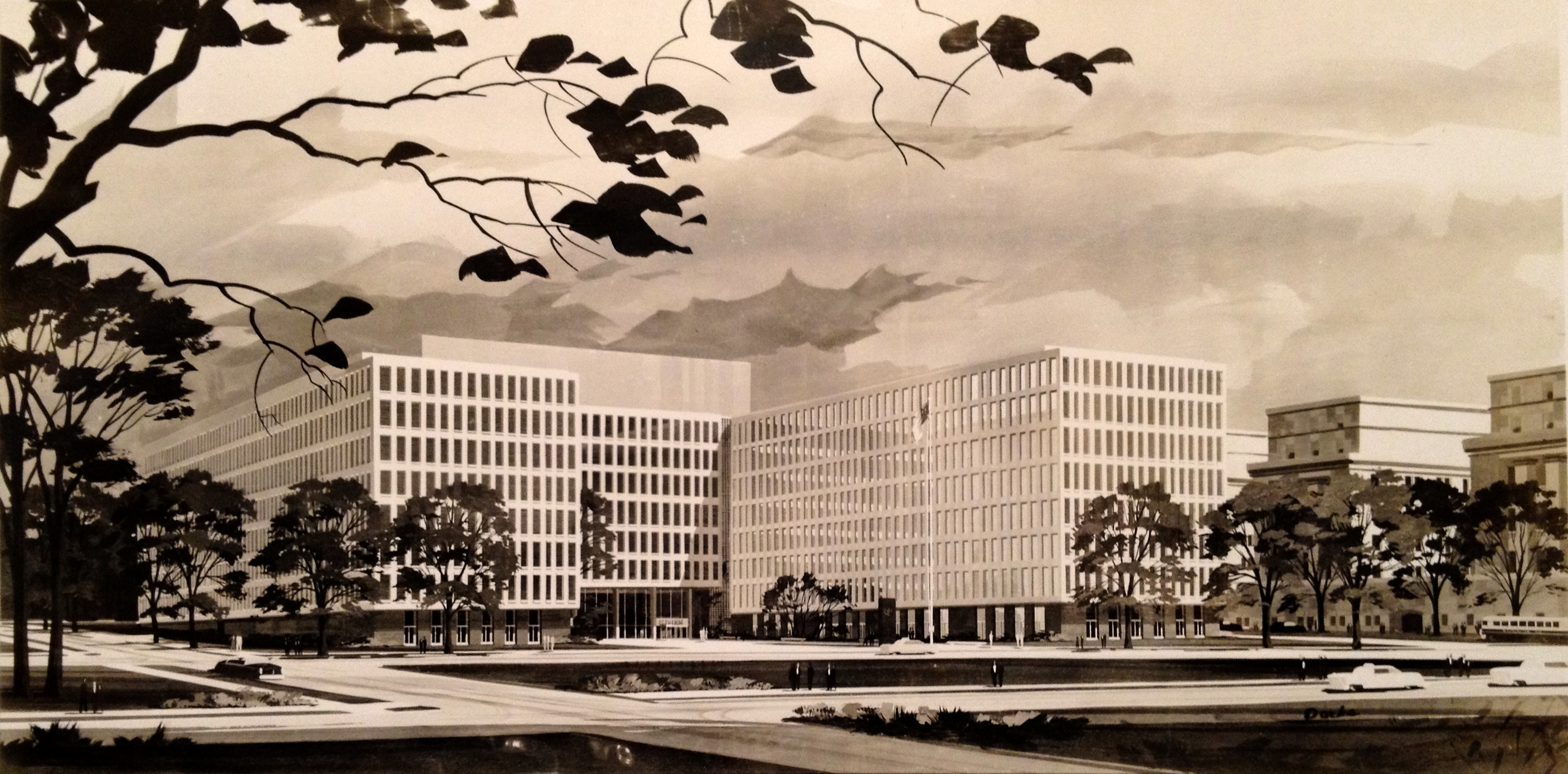 Watercolor rendering of the proposed Federal Office Building 9, c. 1963.