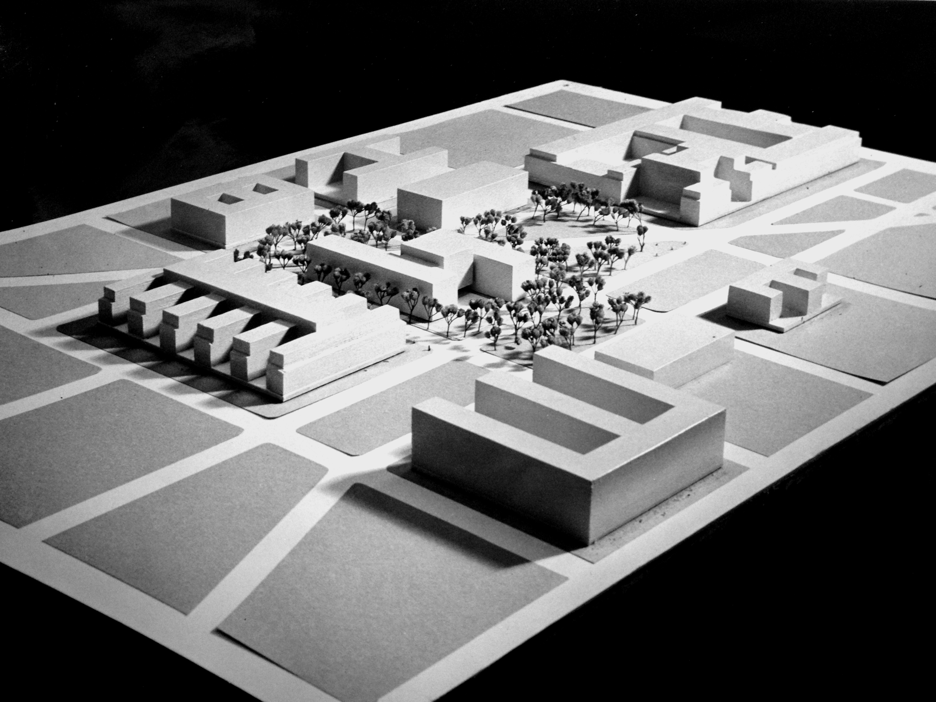 Architectural model of the proposed Federal Office Building 9, including existing federal buildings in the vicinity, c. 1963.