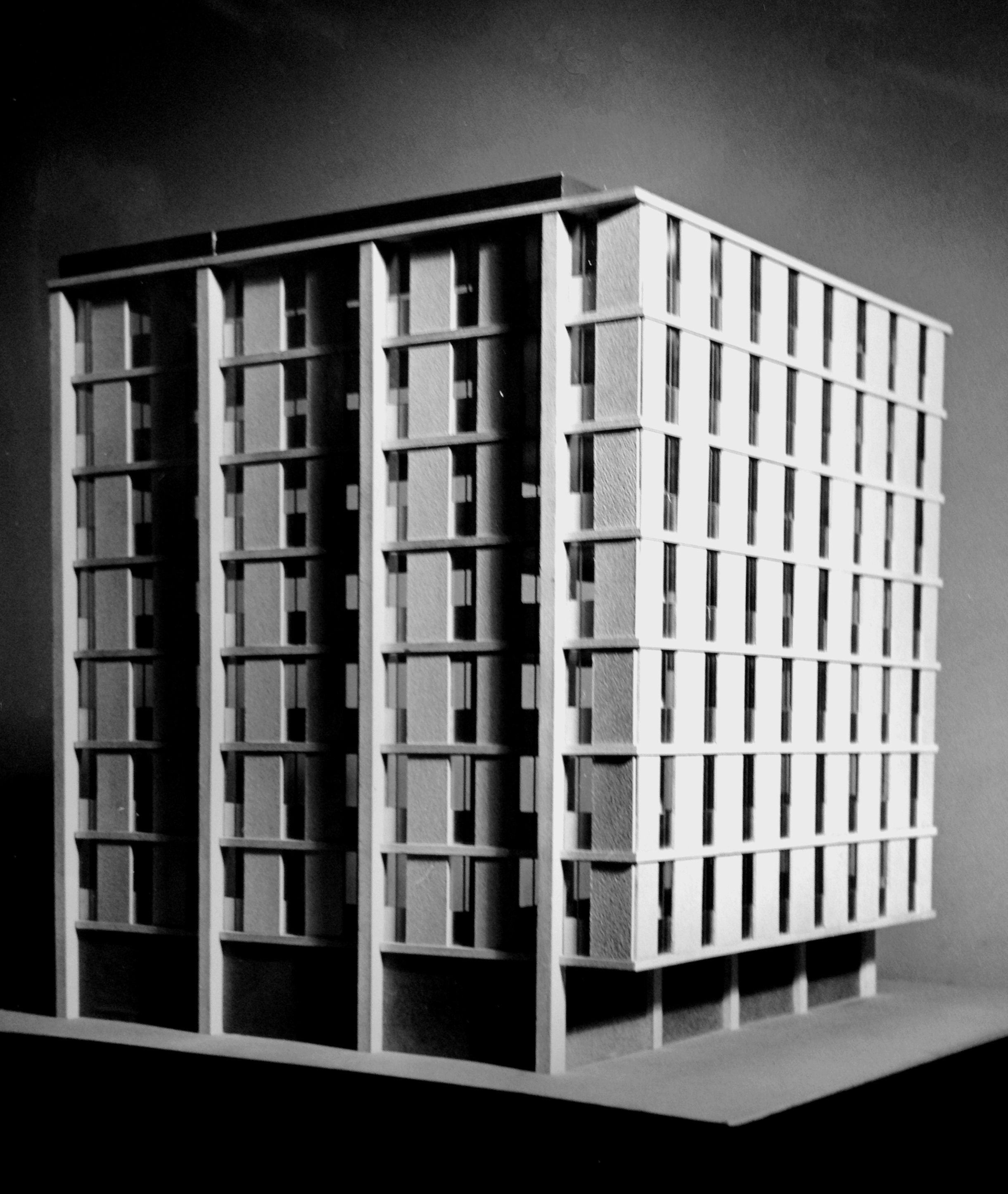 Architectural model, proposed elevation stacking, Federal Office Building 9, c. 1963..
