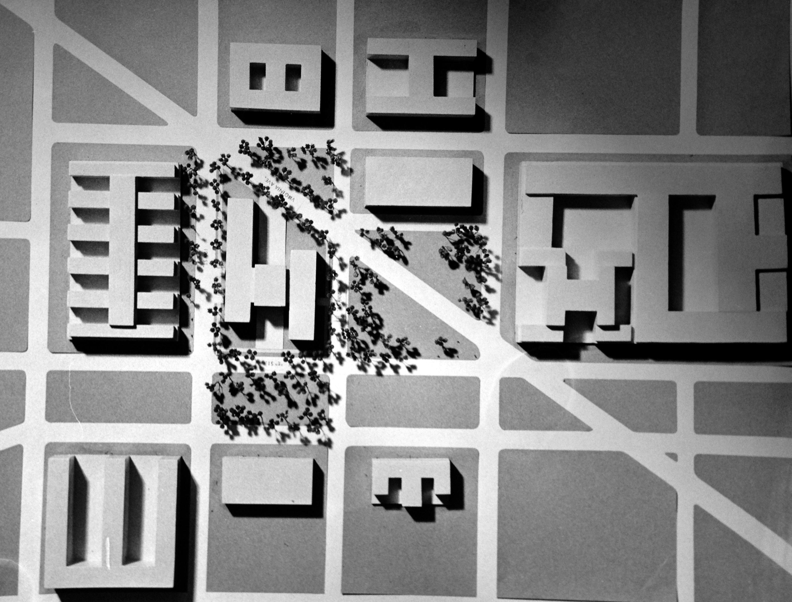 Site plan for the proposed Federal Office Building 9,including the surrounding buildings, c. 1963.